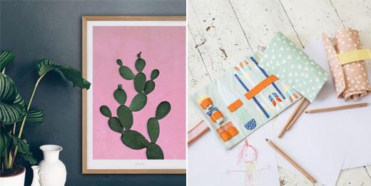 typealive Poster mit Kaktus und Stiftemäppchen