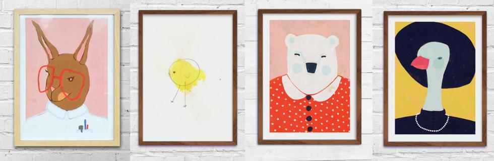 Poster und Illustrationen von Tieren fürs Kinderzimmer von Mucki Miau