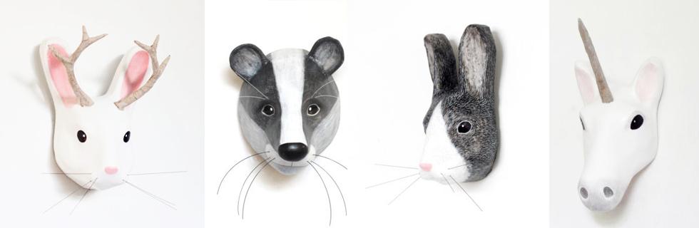 Tierköpfe, MAsken und Trophäen aus Pappmache von MAcheanimal online fürs Kinderzimmer bestellen