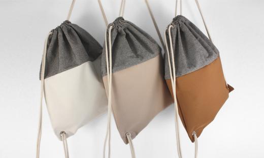 Beutel-Rucksäcke in Grau mit Leder von Sarah Johann Berlin, online bestellen, Taschen, Taschenlabel