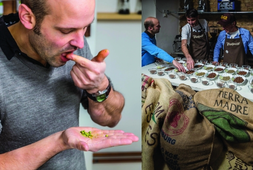 Jörn Gutowski von Try Foods bei der Verkostung von Pfeffer und Kaffee, Probiersets, online bestellen, Berlin, onlineshop