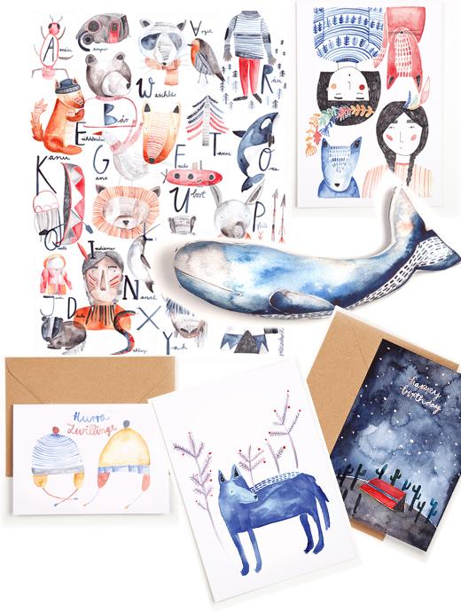 Gewinnspiel über ein Paket mit Illustrationen, Poster, Grußkarten, Postkarten und Stofftiere von Gretas Schwester mit Illustrationen von Sarah Neuendorf aus Berlin