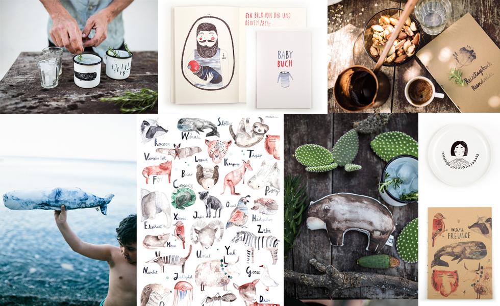 Gretas Schwester der Illustratorin Sarah Neuendorf aus Berlin mit Schreibwaren, Papeterie, Stofftieren für Kinder, Grußkarten und Wohnaccessoires mit Illustrationen