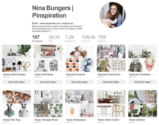 Pinterest Boards zur Inspiration von Nina Bungers, Bloggerin und Pinterest Expertin von Pinspiration