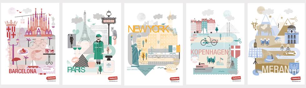Städte Poster Barcelona, New York, Paris, Kopenhagen und Paris als kostenloser Download selbst ausdrucken