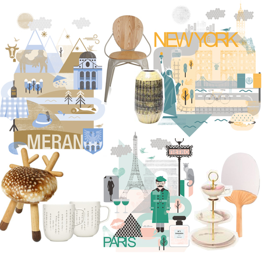 Poster von Meran, New York und Paris aus Download kostenlos zum Ausdrucken und passende Wohnaccessoires
