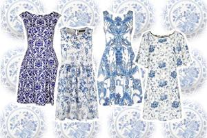 Delfter Muster und Zwiebelmuster in Blau und Weiß als Modetrend auf Kleidern im Sommer 2014