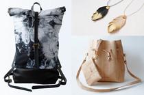 Taschen und Accessoires von Eve & Adis, Buckle Bag und Batik Seesack sowie Accessoires aus Kork