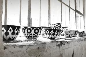 Porzellan und Keramik Schalen von frjor, Anna Becker Schwetzingen, online bestellen, Muster, schwarz, weiss, Müslischale
