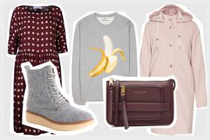 Herbsttrends und Basics mit Sweatshirts, Bordeaux, Regenjacke in Rosa, Tasche von Marc Jacobs und Seidenkleid