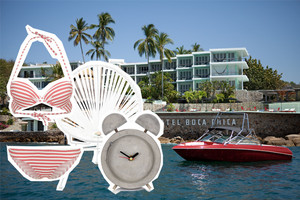 Design Hotel Boca Chica in Acapulco mit Acapulco Chair in Weiss, Interior, Architektur, 50er jahre, retro, vintage