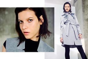 Karen Millen Kollektion Herbst/Winter 2014/15, Trenchcoat mit Satin in Grau online bestellen, onlineshop