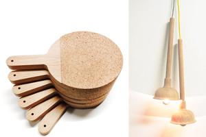 Wohnaccessoires aus Holz von kitschcanmakeyourich - Tischtennisschläger als Untersetzer, Saugglocke als Lampe