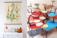 Mighty Vintage Onlineshop mit alten Schulkarten und Retro Blumenbänken, online bestellen, 50er jahre design