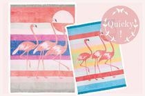 Wolldecke oder Decke für Picknick mit Flamingo in Pink von Pad