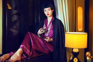 Pyjama mit Muster aus Seide von Label Olivia von Halle, Seidenschlafanzug für Frauen