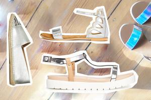Sandalen, Pantolette, Espadrilles und Sommer Schuhe in Silber Metallic online bestellen
