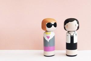 Holzfiguren, Broschen und Deko von Sketch.inc über Etsy online bestellen, Kokeshi Puppen, Karl Lagerfeld puppe