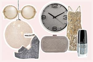 Dekoration und das richtige Outfit für Silvester im Glitzer Look, online bestellen, glamour, glitter, styling