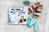 Sonnepflege von Rituals, natürliche Kinderpflegeprodukte von Minois und Birkenstock Sandalen Arizona in Kupfer