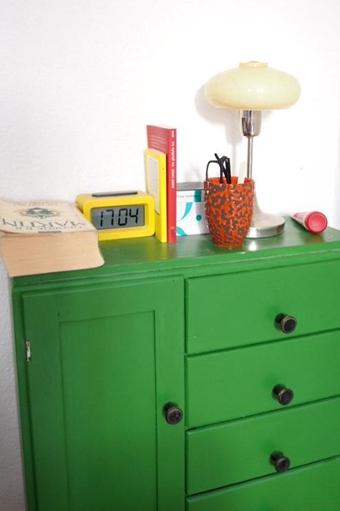 Nachttisch Schrank in Grün Vintage Design