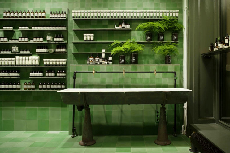 Aesop Beauty, die Kosmetikmarke in berlin, gerhard richter, monochrome gemälde