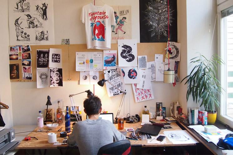 Creative Director Azar Kazimir im Michelberger Hotel verantwortlich für Illustration, Design, Interior, Inneneinrichtung