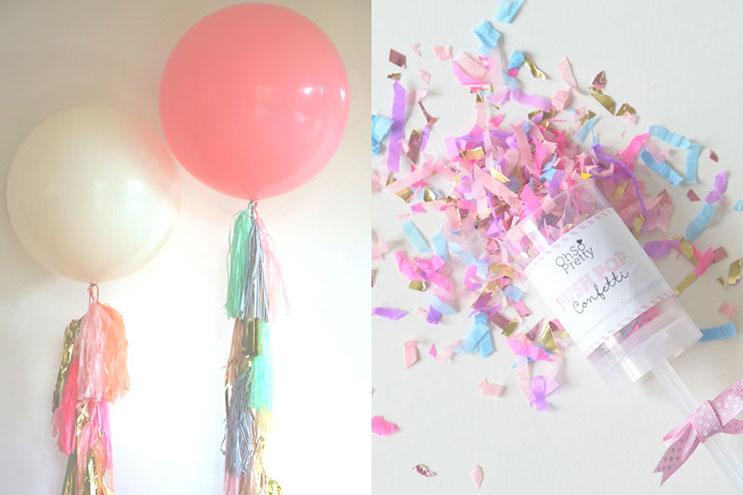 Luftballons mit Konfetti zur Hochzeitsparty