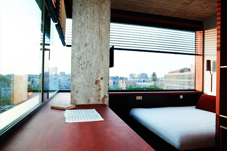 Ausblick über die Stadt vom Volkshotel Amsterdam