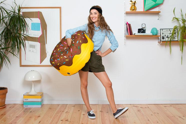 Bunter Donut-Pouf von Woouf aus Barcelona