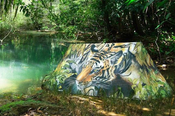 Zelt bedruckt mit Tiger Kopf