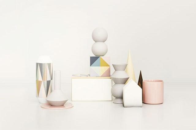 Geometry Vasen von Ferm Living aus Porzellan