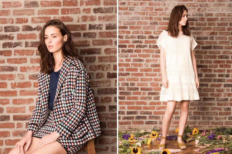 Kollektion von Anna Studio aus Paris, Spring/Summer 2015, Jacke in Minirock mit Karo Muster und Vintage Kleid in Weiss, online bestellen