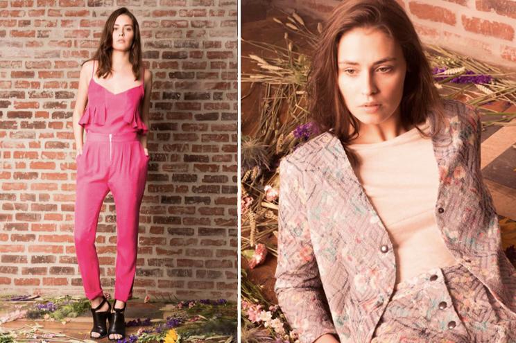 Modelabel Anna Studio, Kollektion Summer 2015, Zweiteiler aus Seide in Pink und Kostüm mit Vintage Blumenmuster, online bestellen