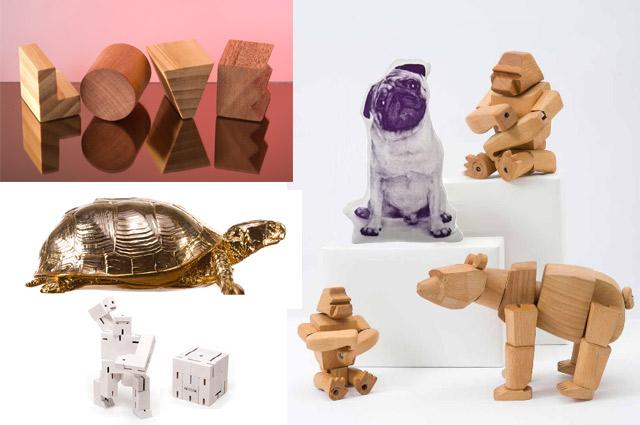 Design von Areaware aus New York - Cubebot aus Holz, Spielzeug, Tiere aus Holz, Kissen, Dekoration und Einrichtung