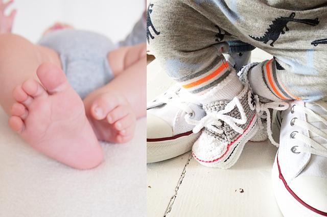 Nackte Babyfüße und Baby Converse gehäkelt - Babyschuhe richtig kaufen, Tipps, worauf achten, schuhmarken,