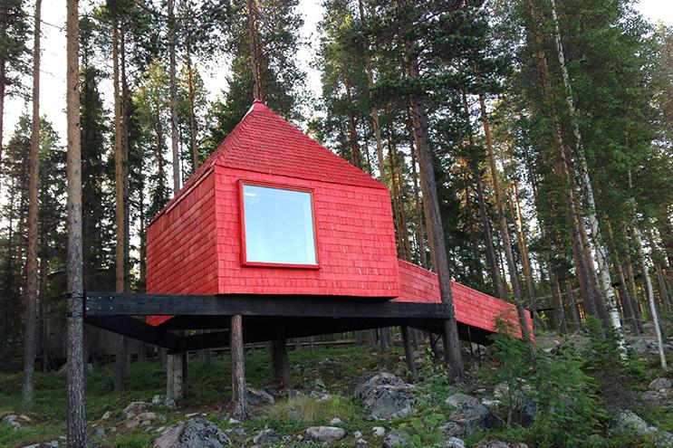Rotes baumhaus Blue Cone