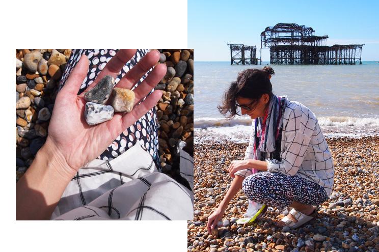 Kieselstrand in Brighton mit historischem West Pier, Sehenswürdigkeiten, Strand, Städtereise