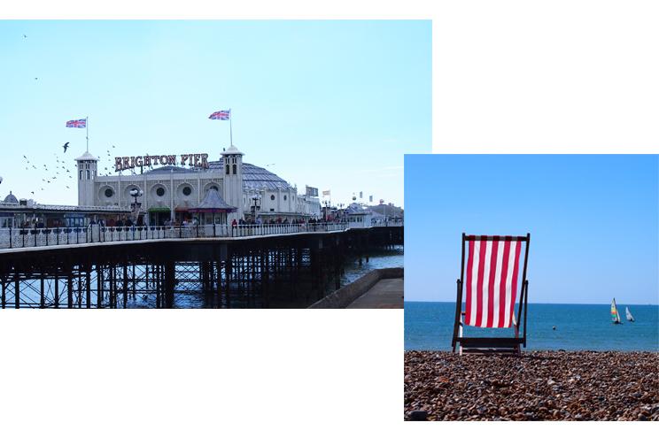 Brighton Pier und Strand mit Liegestuhl, mieten, Preise, Kieselstrand, historischer Pier