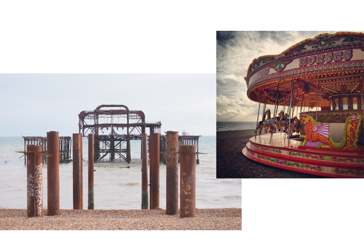 Historischer West Pier in Brighton und antikes Karussell am Meer, Strand, Sehensürdigkeiten, Tipps, Empehlungen, Städtereise