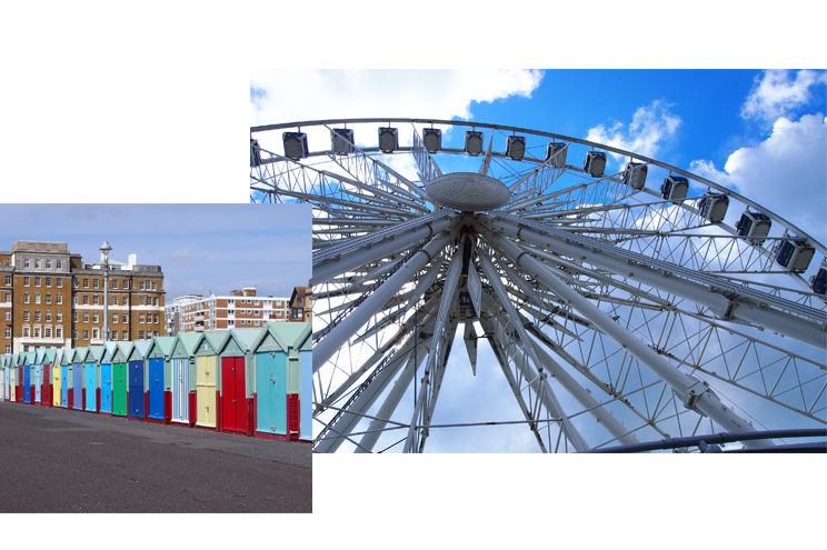 Strandpromenade in Brighton und Riesenrad THE WEEL, historischer Pier, Reise, Travel, Empfehlungen, Tipps, Buchen