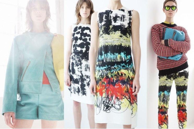 Modedesigner Cedric Charlier Resort Kollektion 2014 - Prints und Muster auf Kleidern und Mänteln