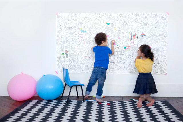 Großes Wandposter für Kinderzimmer von OMY zum Selbstausmalen, Malposter von Smallable
