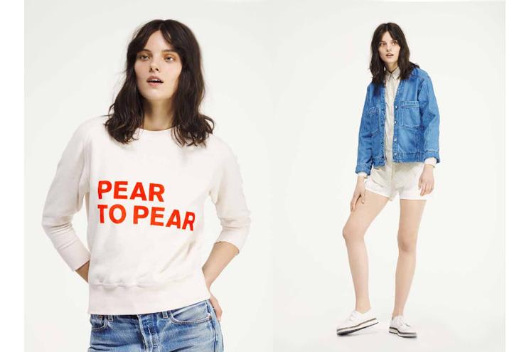 Pear to Pear Sweatshirt in Peach Pastell mit Neon Orange, Retro Jeansjacke und Shorts von Seek no Further, Kollektion Sommer 2014