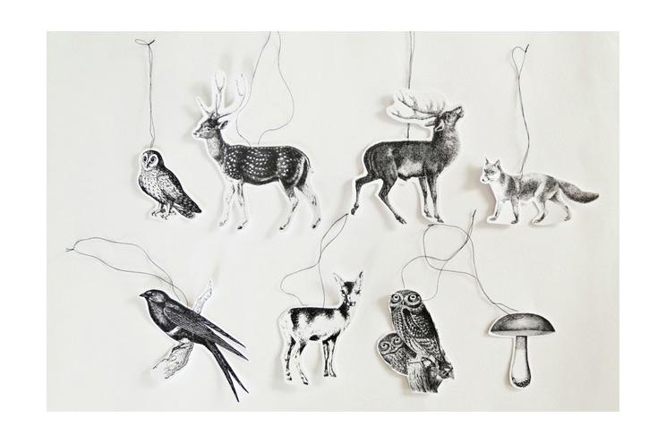 Geschenkanhänger Weihnachtsbaumschmuck aus Papier die Tiere des Waldesvon Ahoj-2012 über DaWanda selbstgemacht DIY