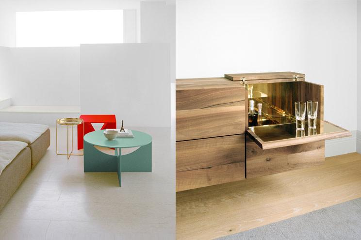 Bunte Couchtische aus der Ferdinand Kramer®-Kollektion und das wunderschöne Sideboard MAHNAZ