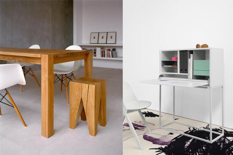 Esstisch aus Massivholz Bigfoot von e15 und Beistelltisch oder Hocker Backenzahn - Schreibtisch