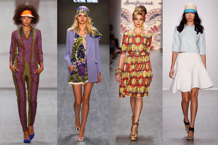 Accessoires und Hüte im Sommer 2015 - Trends der Fashion Week Berlin - Tücher und Caps dürfen im Sommer 2015 nicht fehlen - Africa Fashion Days, cést tout/ ce nou, Lena Hoschek und Glaw