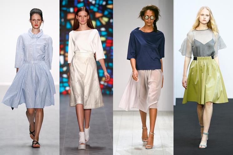 Modetrend Midi Rock knielang - gezeigt von Anne Gorke, Kilian Kerner, Barre Noir und Schumacher, Sommertrend 2015, Mercedes-Benz Fashion Week Berlin