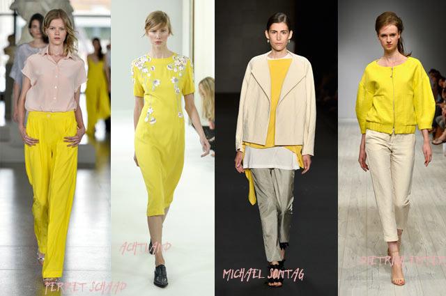 Fashion Week Berlin Sommer 2014 - Modetrend Gelb in den Kollektionen von Perret Schaad, Achtland, Michael Sontag und Dietrich Emter